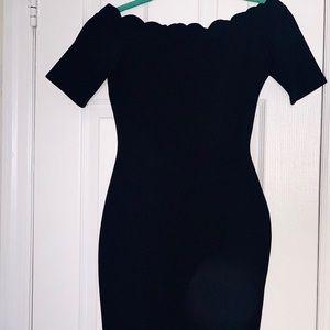 Tulip Neckline Bodycon black dress